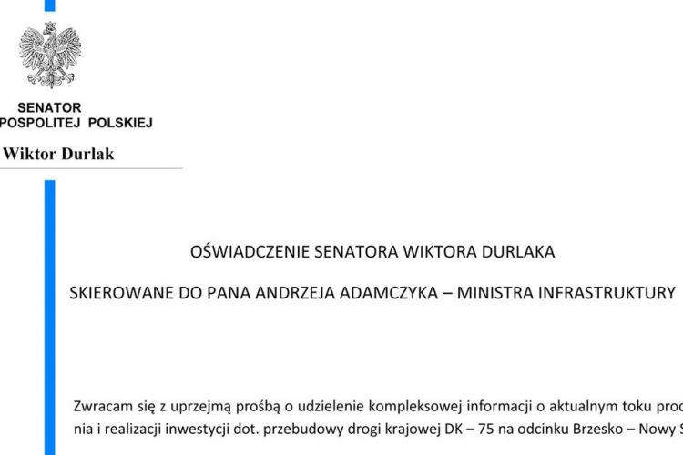 Oświadczenie Senatora RP Wiktora Durlaka ws. Sądeczanki