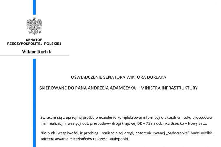 """Oświadczenie Senatora RP Wiktora Durlaka ws. """"Sądeczanki"""""""