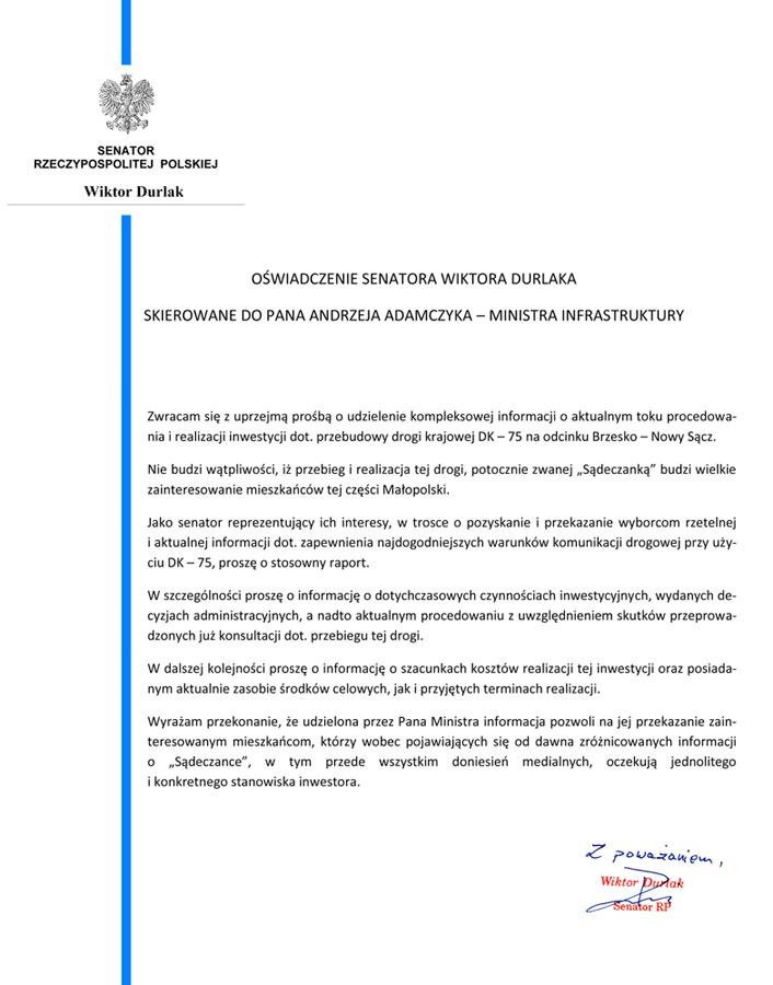 """Oświadczenie Senatora RP Wiktora Durlaka ws. """"Sądeczanki"""" 2"""