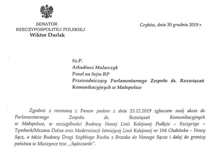 Senator RP Wiktor Durlak dołącza do <br> Parlamentarnego Zespołu ds. Rozwiązań Komunikacyjnych w Małopolsce
