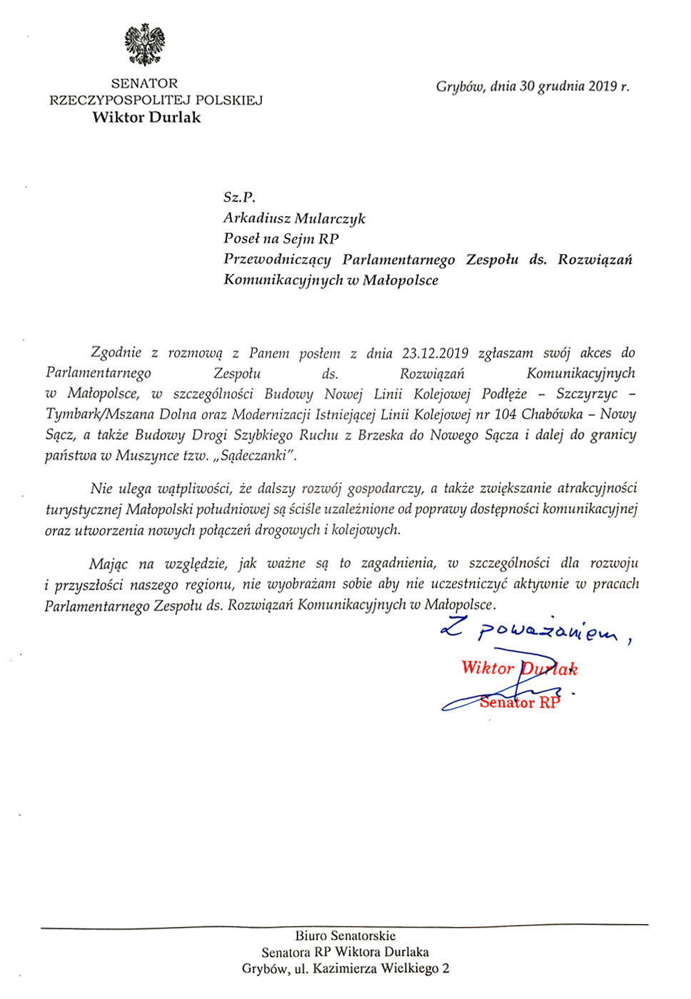 Senator RP Wiktor Durlak dołącza do <br> Parlamentarnego Zespołu ds. Rozwiązań Komunikacyjnych w Małopolsce 1