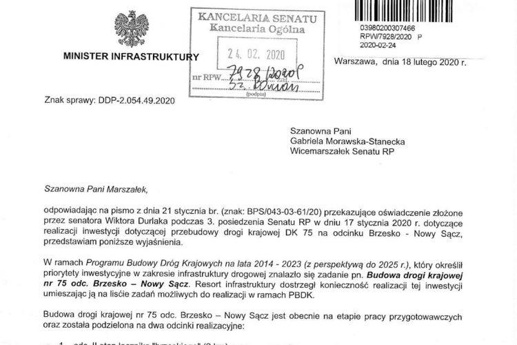 """Odpowiedź Ministerstwa Infrastruktury na oświadczenie Senatora RP Wiktora Durlaka ws. """"Sądeczanki"""""""