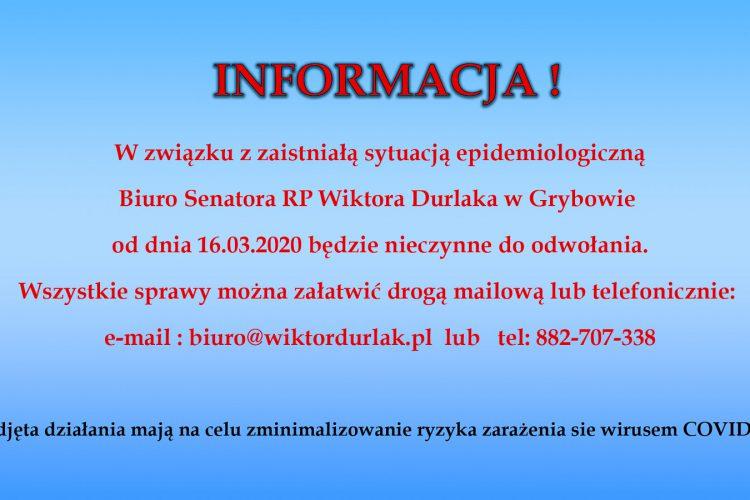 Biuro Senatora – komunikat w zw. z sytuacją epidemiologiczną