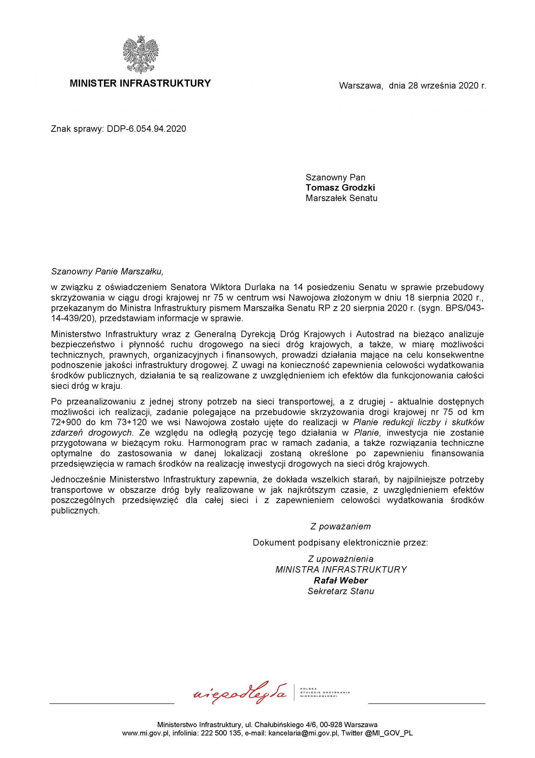 """Odpowiedź Ministra Infrastruktury na oświadczenie Senatora RP Wiktora Durlaka ws. """"Przebudowy skrzyżowania w ciągu drogi krajowej nr 75"""" 1"""