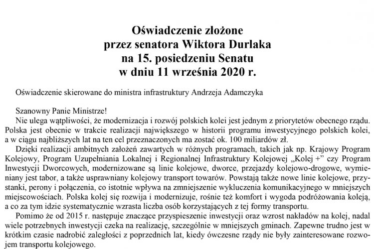 Oświadczenie złożone przez senatora Wiktora Durlaka na 15. posiedzeniu Senatu w dniu 11 września 2020 r.