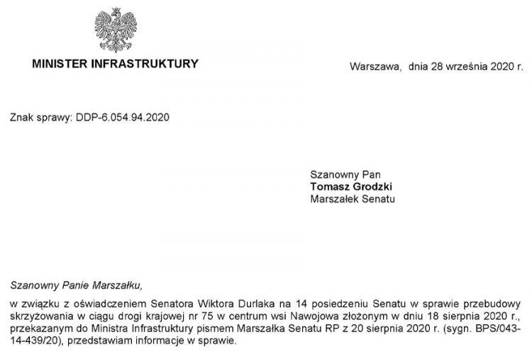 """Odpowiedź Ministra Infrastruktury na oświadczenie Senatora RP Wiktora Durlaka ws. """"Przebudowy skrzyżowania w ciągu drogi krajowej nr 75"""""""