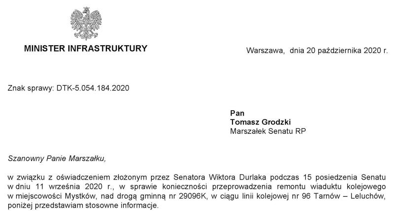 Odpowiedź Ministra Infrastruktury na oświadczenie Senatora RP Wiktora Durlaka  ws. konieczności przeprowadzenia remontu wiaduktu kolejowego w miejscowości Mystków